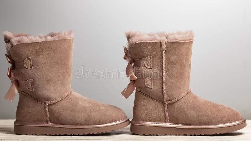 Winter brown felt boots on a white background royalty free stock photography
