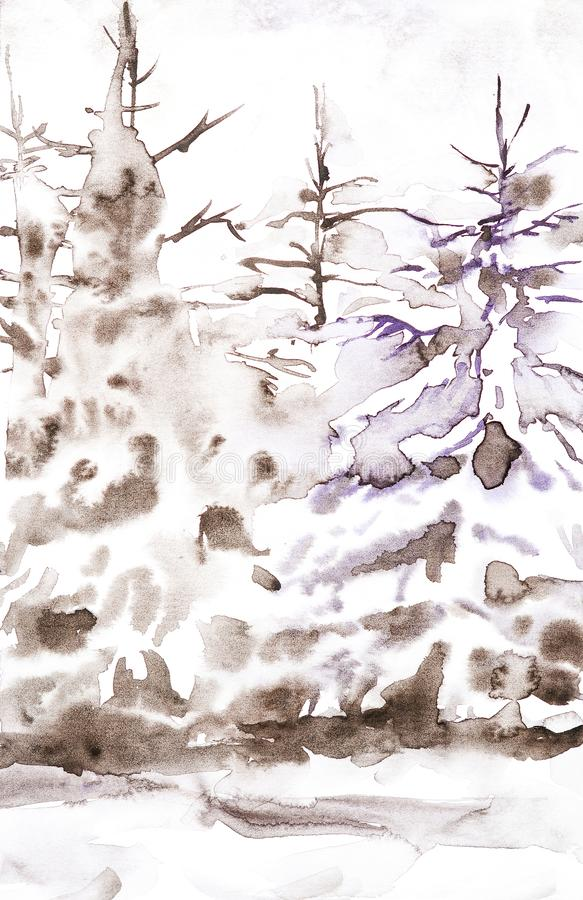Winter brown landscape of snowy forest. Hand drawn watercolor illustration royalty free illustration