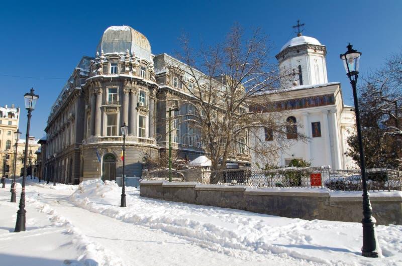Winter in Bucharest - historische alte Mitte stockbilder