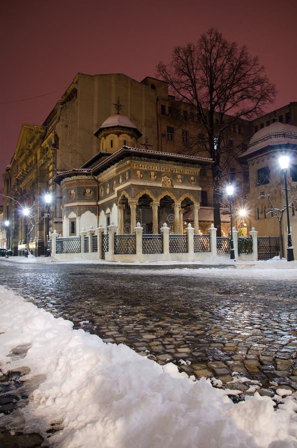 Winter in Bucharest - Stavropoleos Monastery stock image