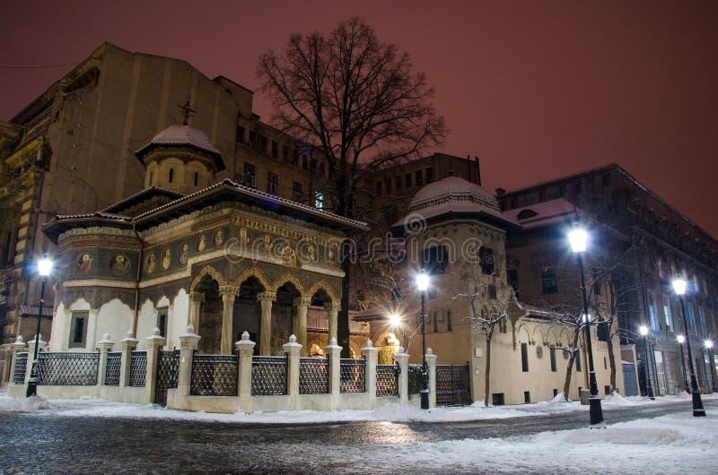 Winter in Bucharest - Stavropoleos Monastery royalty free stock photo