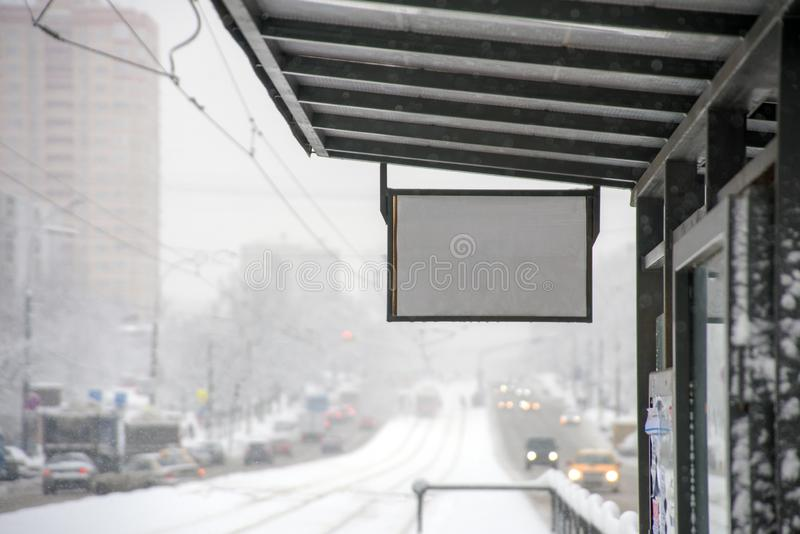 Winter bus stop. Winter city public transport stop perspective view royalty free stock photo