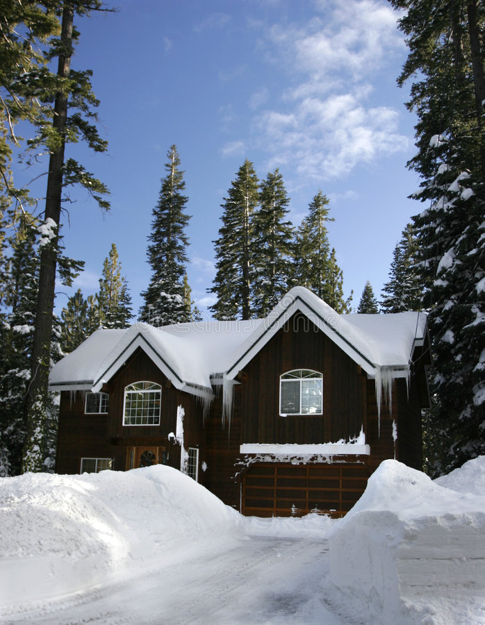 Download Winter cabin stock image. Image of green, home, relax - 3809509
