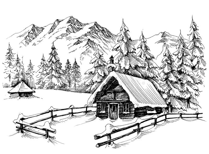 Winter cabin drawing royalty free illustration