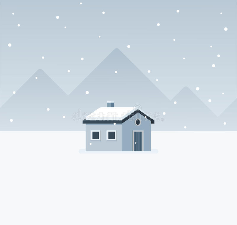 Winter cabin landscape vector illustration