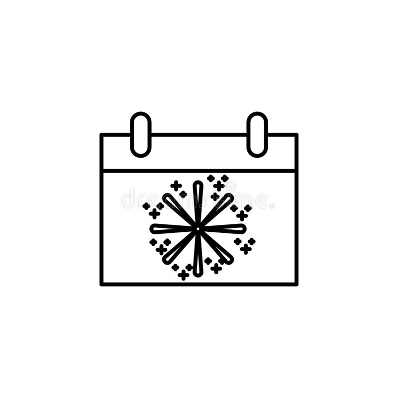 winter on the calendar icon. Element of new year oarty outline icon. Thin line icon for website design and development, app stock illustration
