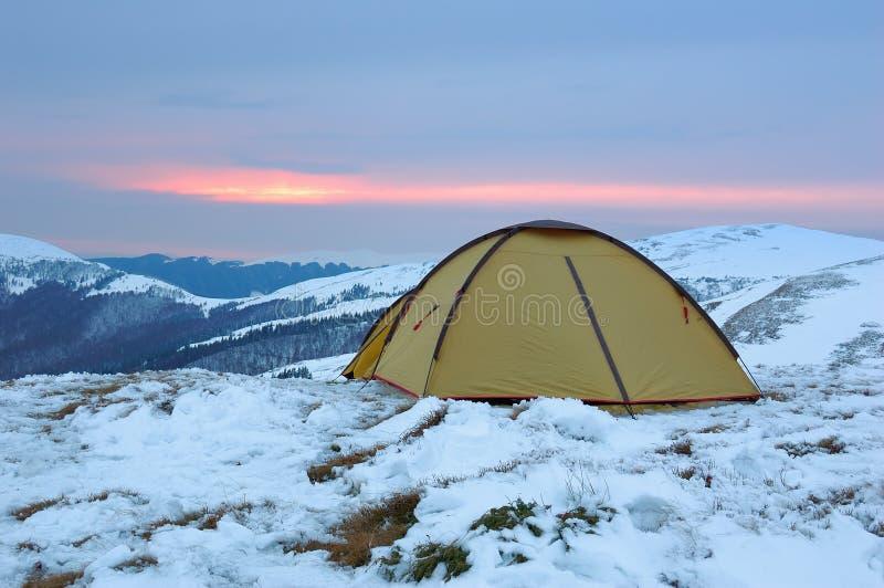 Winter camping royalty free stock photo