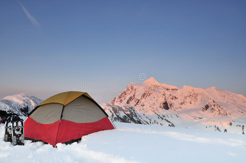 Winter Camping at Huntoon point on Artist Ridge royalty free stock images