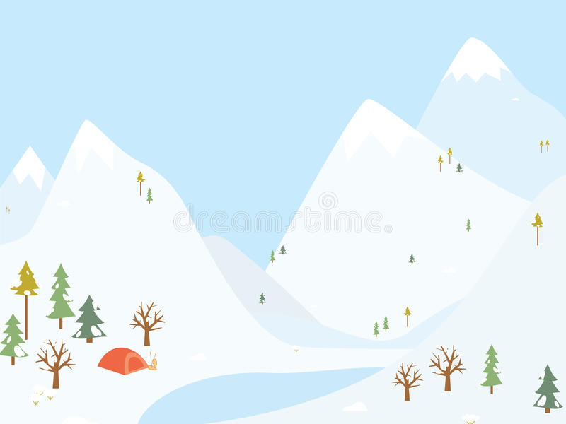 Download Winter Camping Wooden With Tent. Stock Photos - Image: 35298053