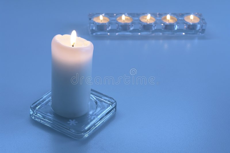 Winter Candle Blue Mood stock images