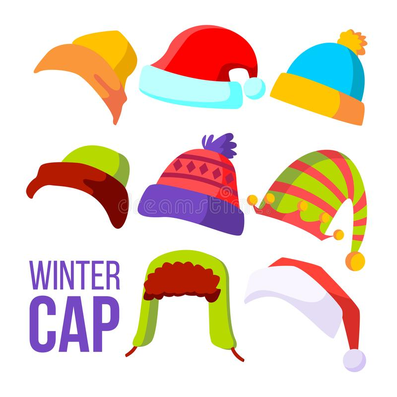 Winter Cap Set Vector. Cold Weather Headwear. Hats, Caps. Apparel Clothes For Autumn. Isolated Cartoon Illustration stock illustration