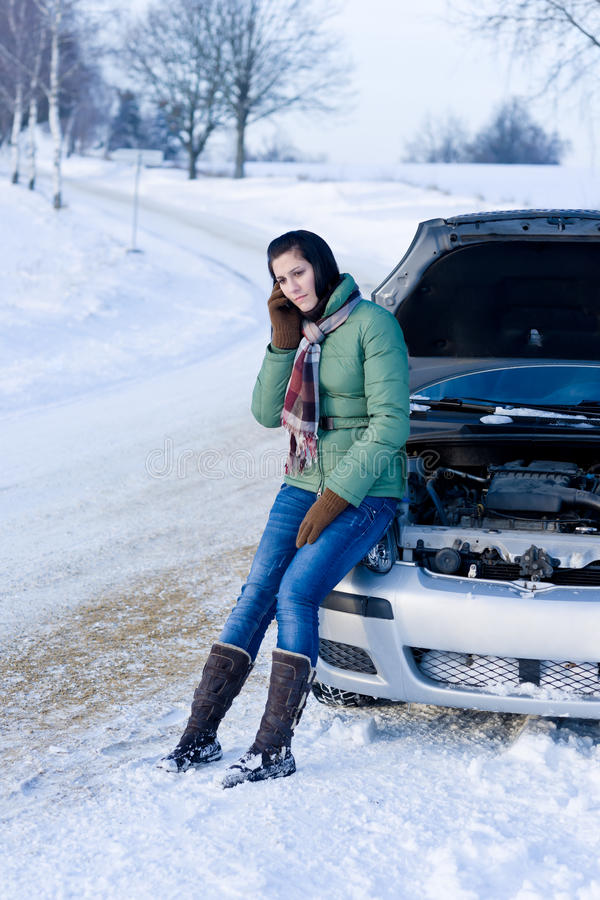 Download Winter Car Breakdown - Woman Call For Help Royalty Free Stock Photo - Image: 17885665