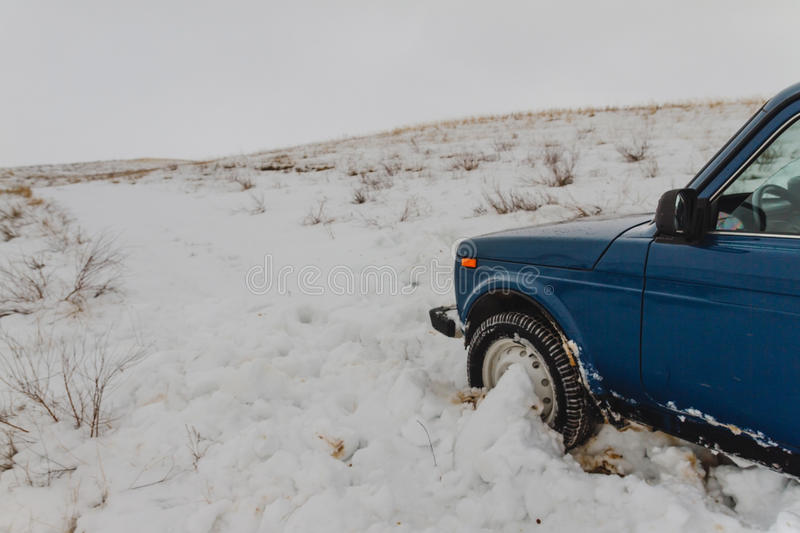 Winter car in snow. In the steppe royalty free stock photography