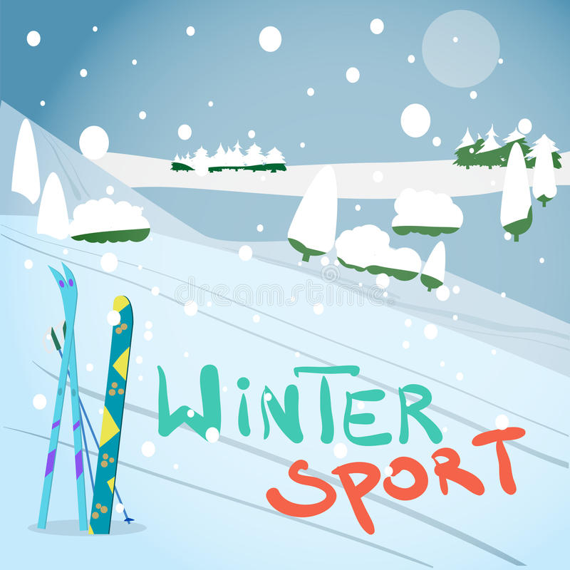 Winter card background. Mountains, snowboard and ski equipment. In the snow vector illustration