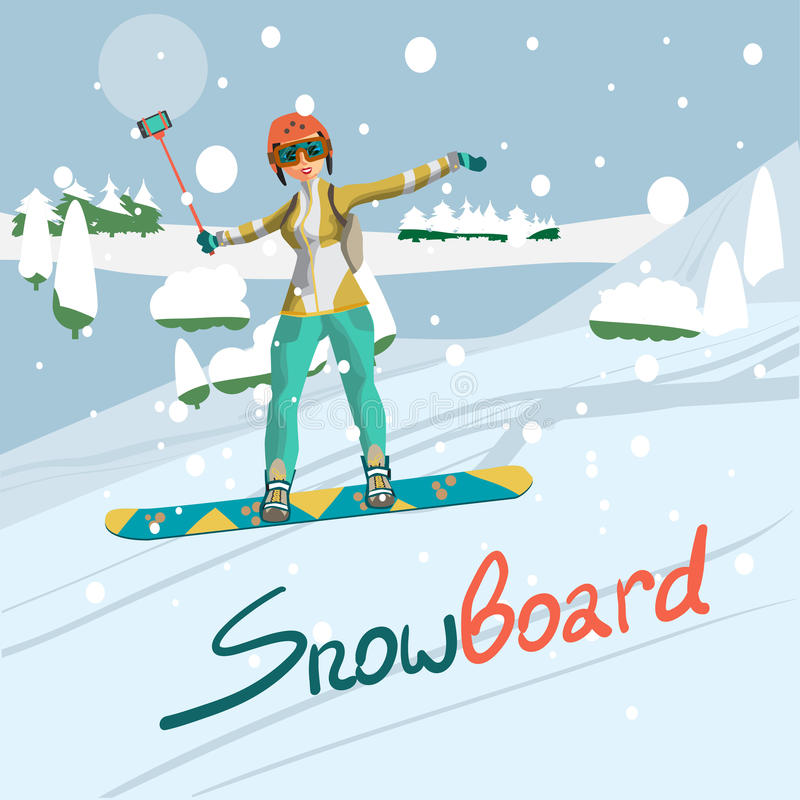 Winter card background. Woman snowboarding in mountains. With a stick for a selfie. Flat cartoon illustration stock illustration