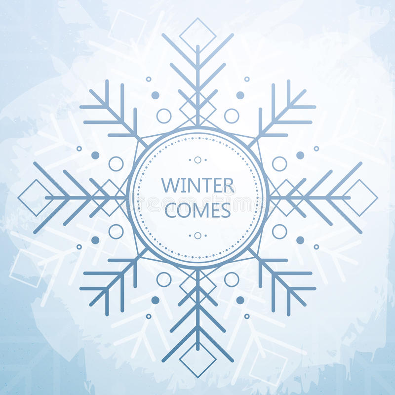 Winter Card With Beautiful Geometric Snowflake. Grunge Style Background. royalty free illustration