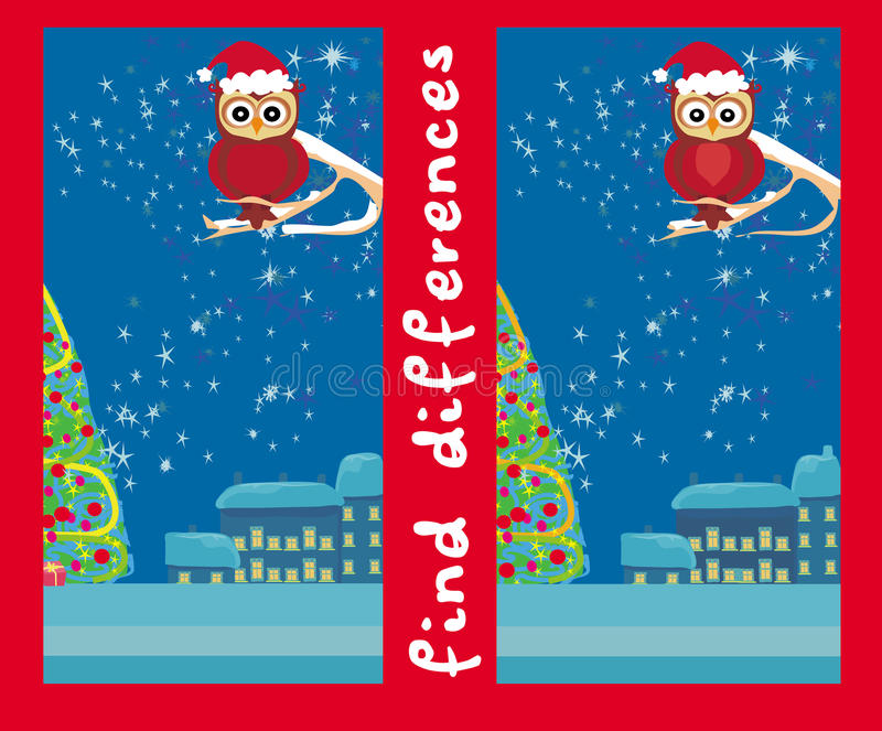Winter card with cute owl , find the differences royalty free illustration