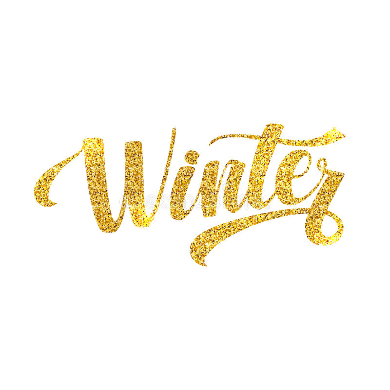 Winter Card. Golden Shiny Glitter. Lettering Poster Tamplate. White Background royalty free illustration