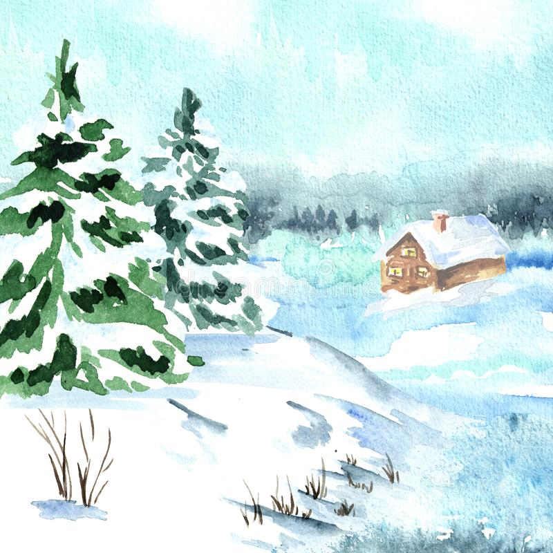 Winter card, landscape with fir tree and small house. Watercolor hand drawn illustration. stock illustration