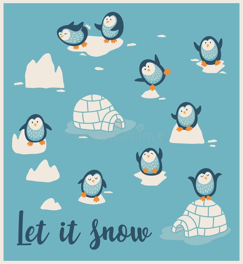 Winter card with little cute penguins. Let it snow. Greeting card with little cute penguins. Vector illustration vector illustration