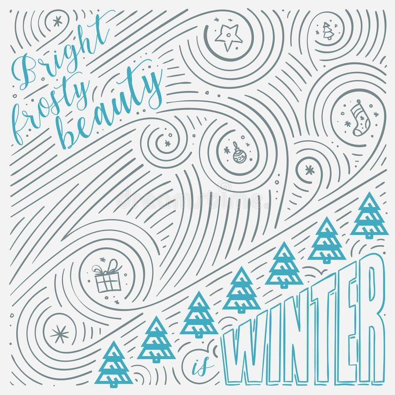 Free Winter Card. The Lettering - Bright Frosty Beauty Is Winter. New Year / Christmas Design. Royalty Free Stock Photography - 102131477