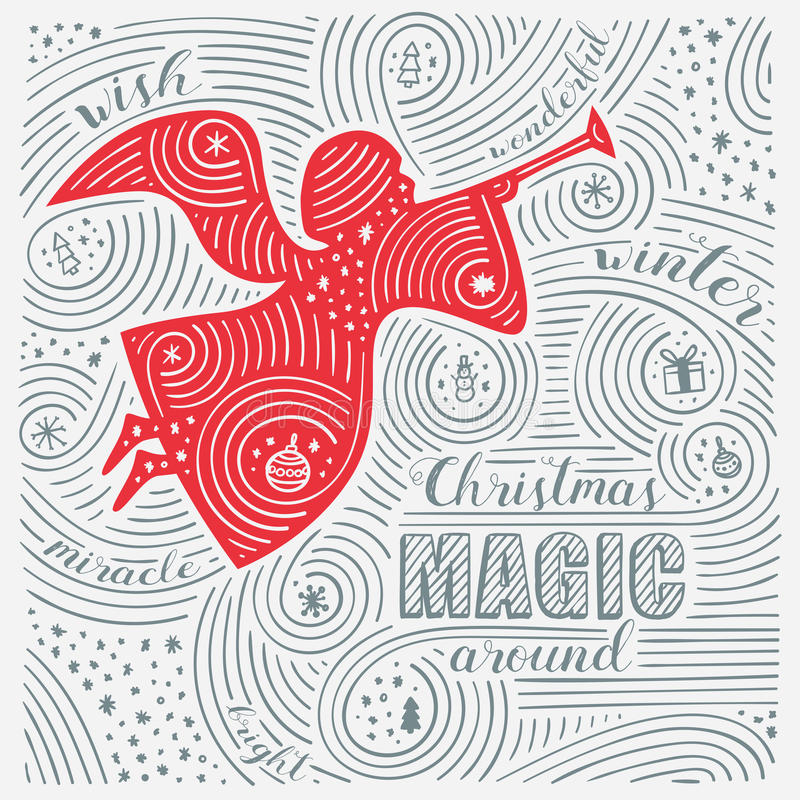 Free Winter Card. The Lettering - Christmas Magic Around. New Year / Christmas Design. Handwritten Swirl Pattern. Stock Image - 82325271