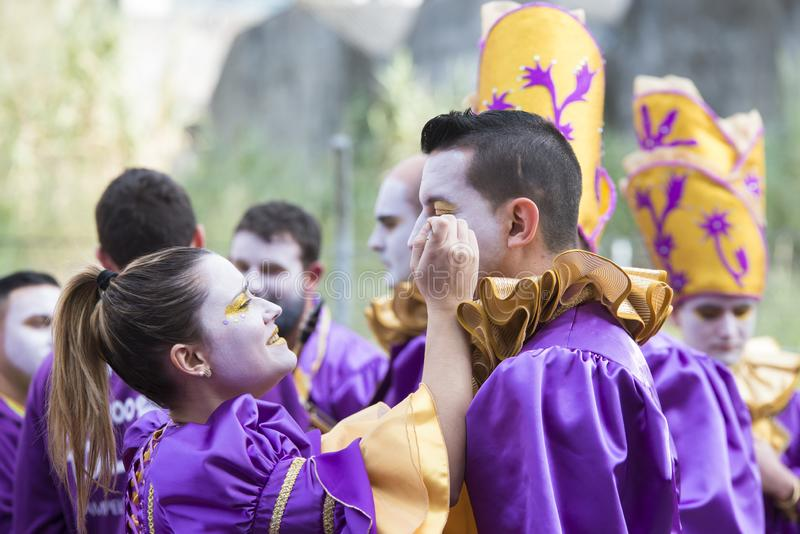 Winter Carnival in Pontevedra Spain. PONTEVEDRA, SPAIN - FEBRUARY 25, 2017: Detail of participants in the parade celebrated in the city, on the occasion of the royalty free stock image