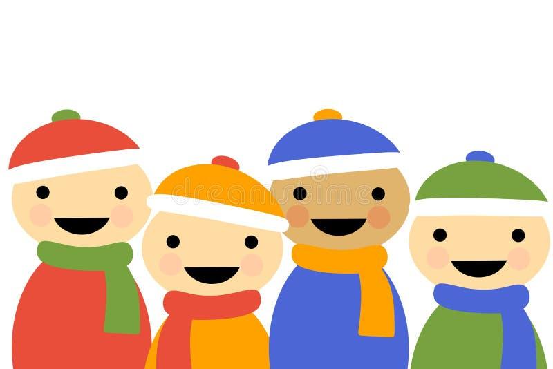 Winter Cartoon Children. An illustration featuring simplistic cartoon children smiling wearing winter clothing stock illustration