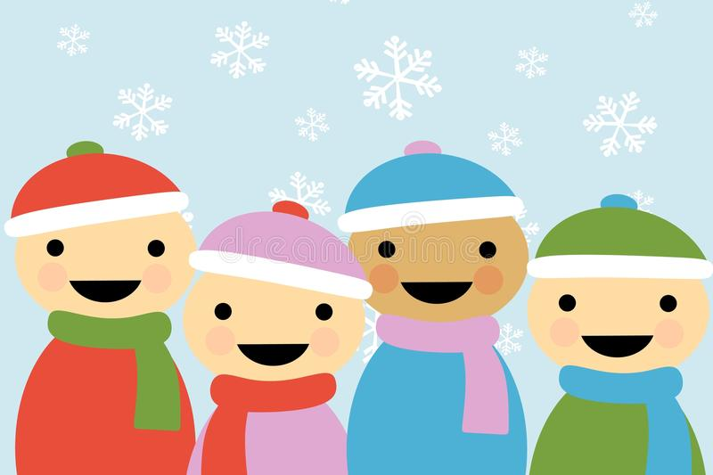 Winter Cartoon Children 2. An illustration featuring simplistic cartoon children smiling wearing winter clothing set against blue background and snowflakes vector illustration
