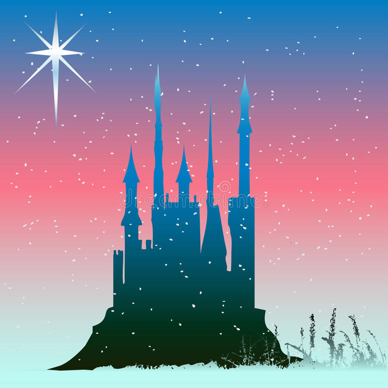 Winter Castle. Background illustration with fairytail castle in winter vector illustration