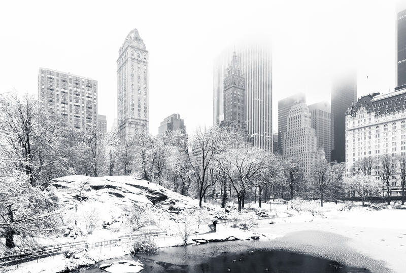 Winter in Central Park, NY. The Pond in Central Park on a foggy winter morning, as viewed from Gapstow Bridge. Low clouds cover Manhattan skyscrapers royalty free stock images