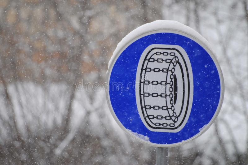 Winter chains warning sign stock photography