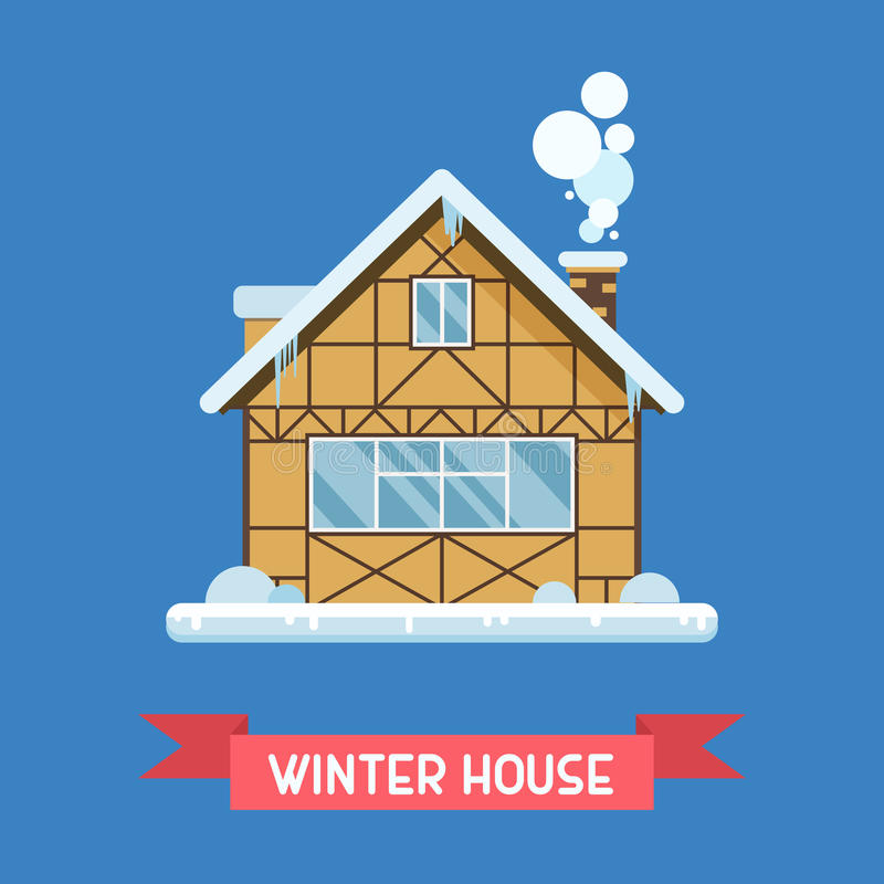 Winter Chalet House stock illustration