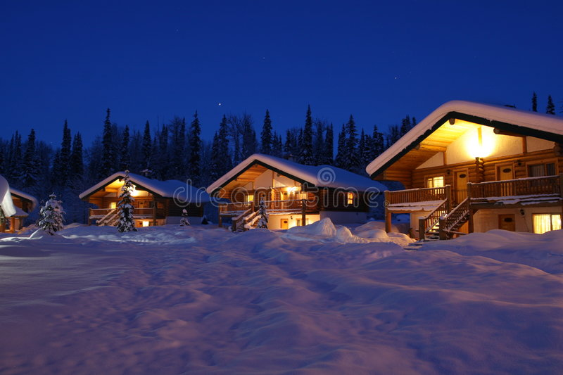 Winter Chalet's in Twilight. A community of winter resort chalets in northern Canada stock photo