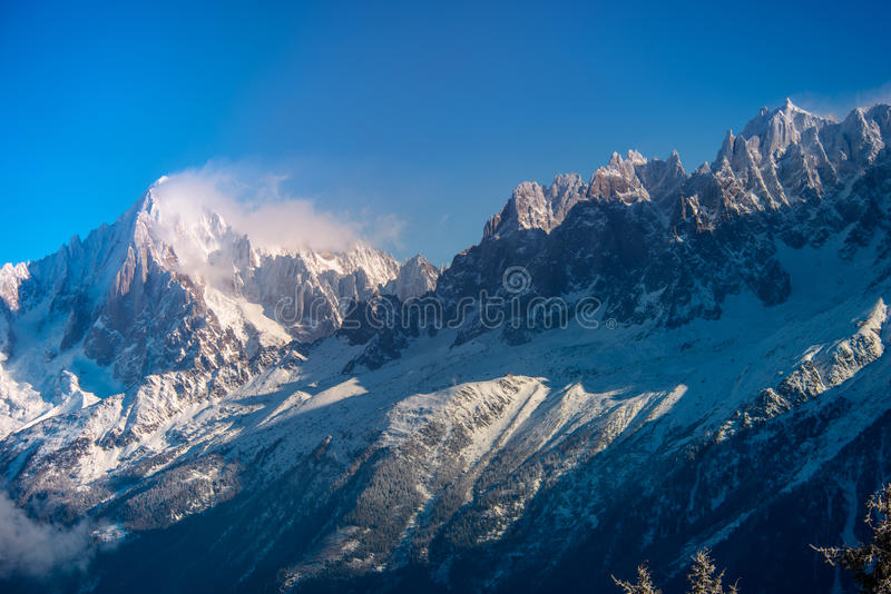 Winter in Chamonix. Mountains in France. Chamonix. Aiguille du midi. 3 842 m stock image