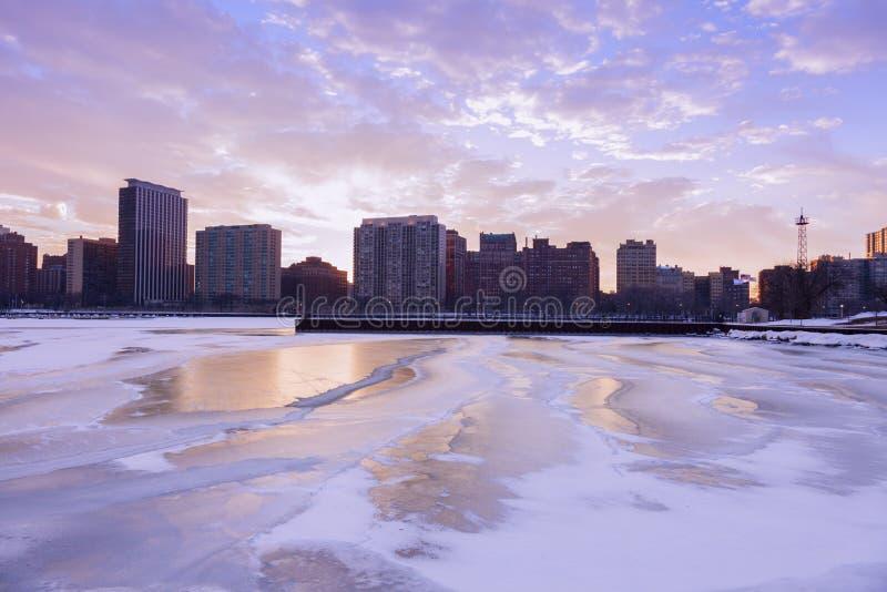 Winter in Chicago stockfotos
