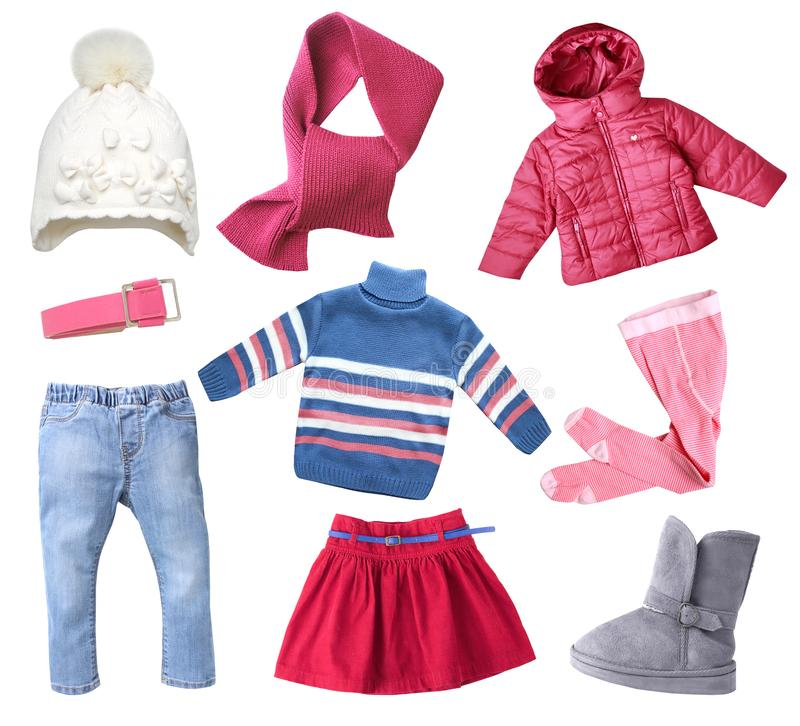 Free Winter Child Gir`sl Clothes Set Isolated. Royalty Free Stock Photography - 131088127