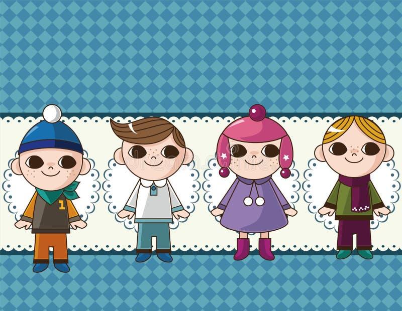 Download Winter children card stock vector. Image of friendship - 22504870