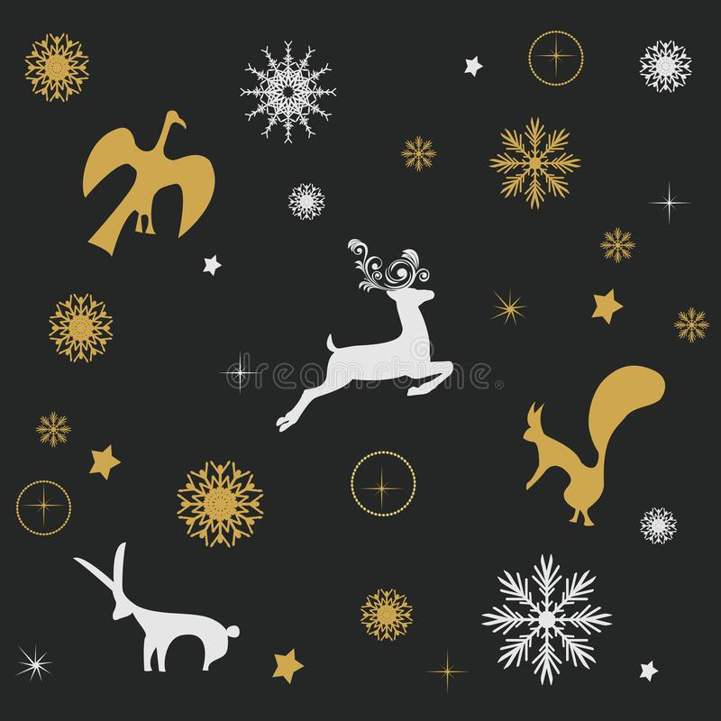 Winter christmas background. On a black background birds, hares, squirrels and deer stock illustration