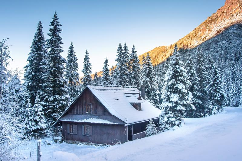 Winter. Christmas background. Frosty mountain landscape. Beautiful winter scene with wooden house in Tatra mountains stock photo
