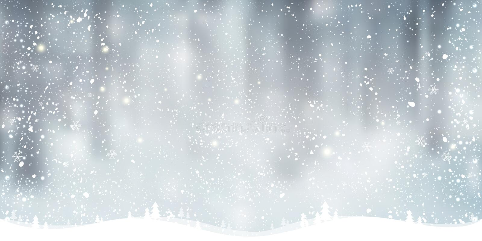 Winter Christmas background with landscape, snowflakes, light, stars. vector illustration