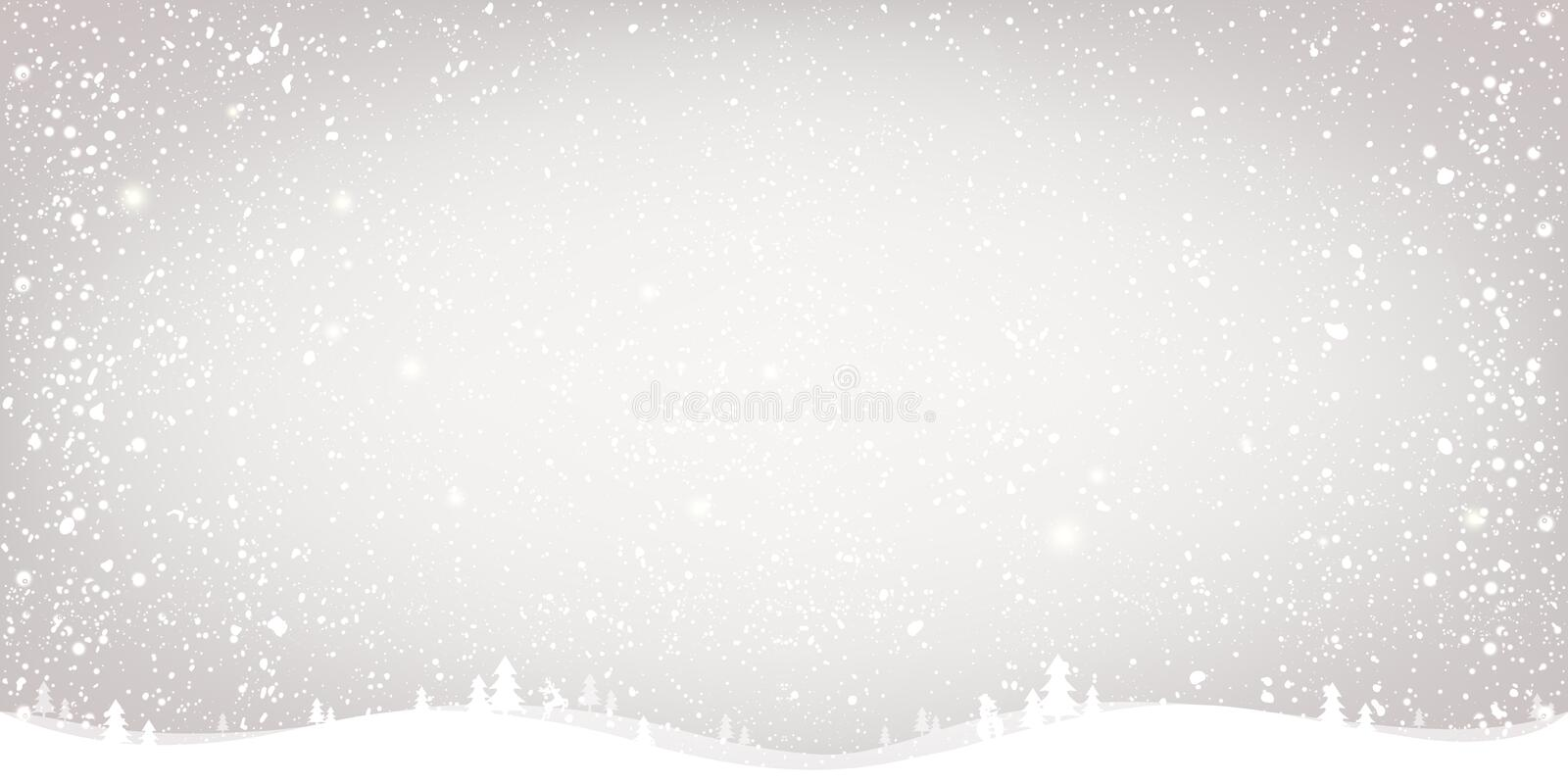 Winter Christmas background with landscape, snowflakes, light, stars. Xmas and New Year card. Vector Illustration stock illustration