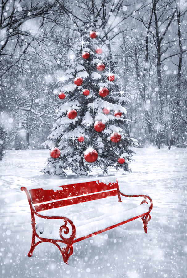 winter christmas background  scene with red element