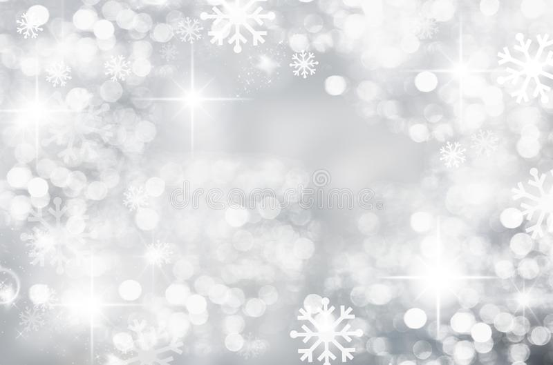 Winter Christmas background, silver, bokeh, blurred, white snowflakes, round spot, season, new year, beautiful silver stock illustration