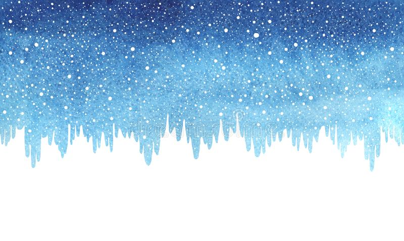 Winter, Christmas blue watercolor border, snow and icicles. Winter watercolor horizontal border, gradient background with falling snow, snowflakes texture vector illustration