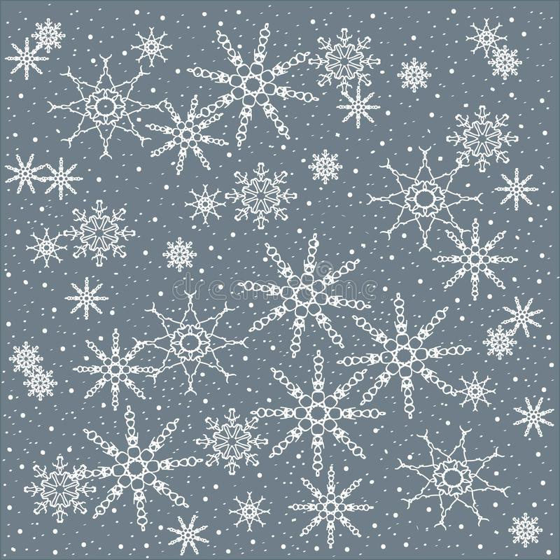 Winter, Christmas, Christmas background of white snowflakes on a pastel blue vector illustration