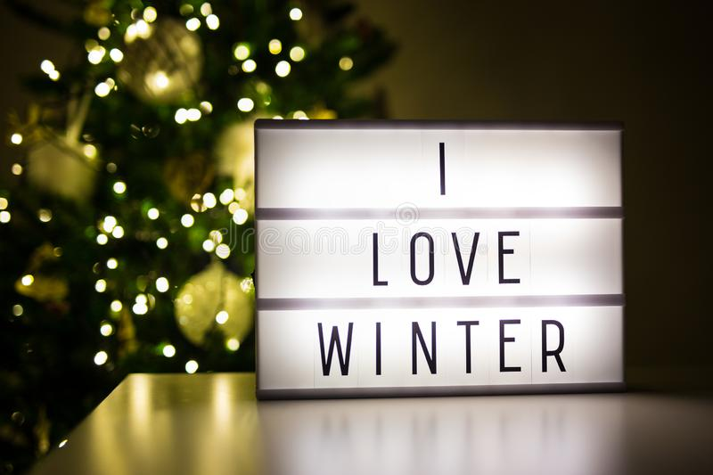 Winter and christmas concept - lihtbox with text I love winter i stock photos