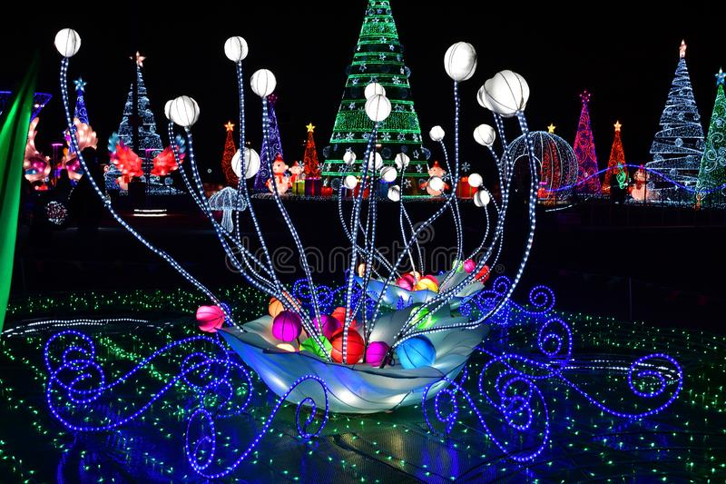 Winter Christmas decorative Lights with background christmas light tress.  stock image