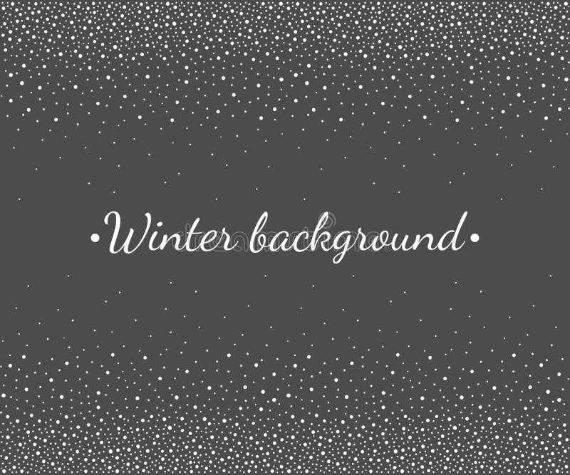 Winter, Christmas falling snow border, snowlakes dot frame. New Year, Christmas border, frame template. Seamless in horizontal direction stripe. Winter vector illustration