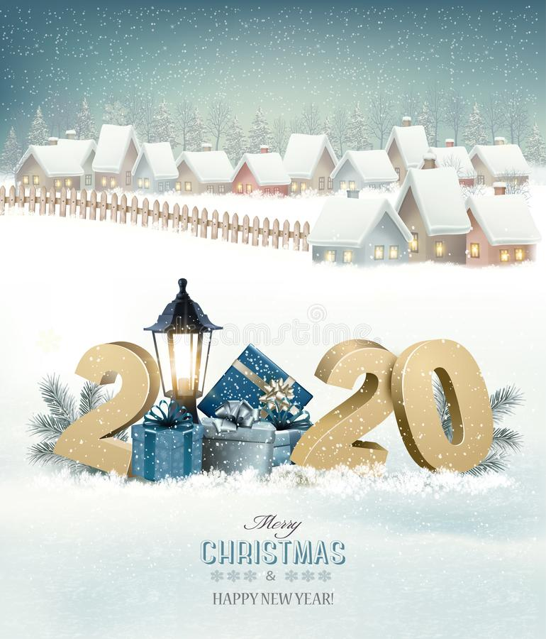 Free Winter Christmas Holiday Background With A Snowy Village Landscape And 2020. Stock Photography - 161092252